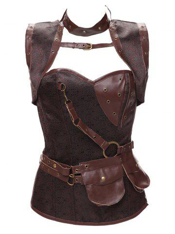 Gothic Faux Leather Belted Corset - Brown - 4xl