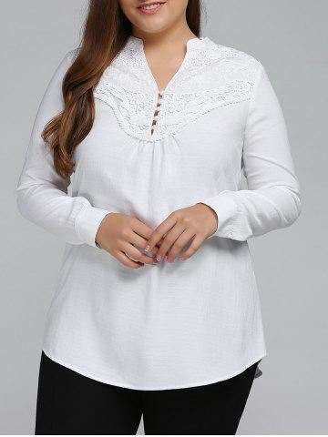 Chic Plus Size Long Sleeve Lace Spliced Crochet Tops WHITE 5XL