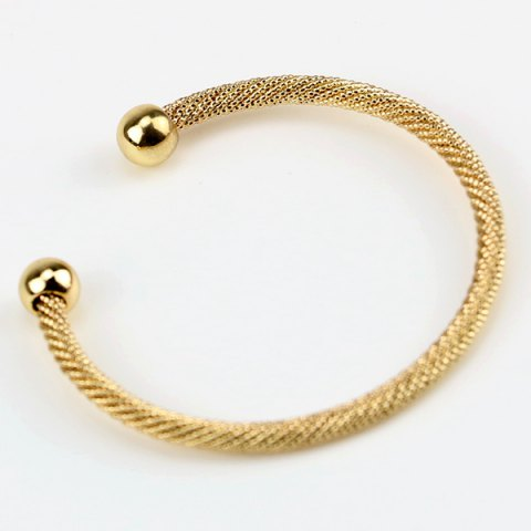 Concise Double Beads Cuff Bracelet - GOLDEN