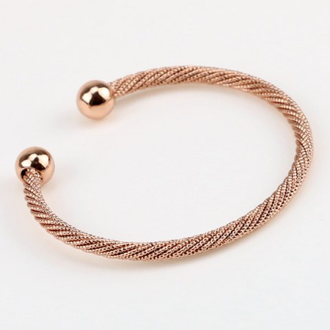 Concise Double Beads Cuff Bracelet - Rose Gold
