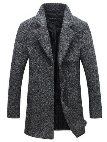 Online Front Pocket Single-Breasted Lapel Coat DEEP GRAY 5XL