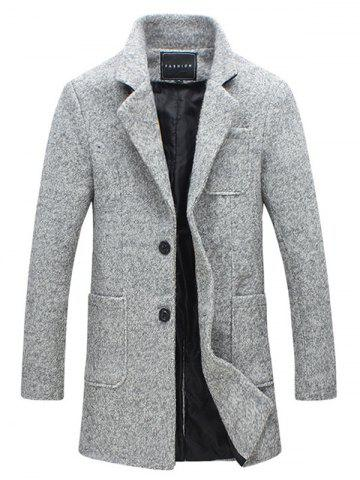 Shops Front Pocket Single-Breasted Lapel Coat LIGHT GRAY L
