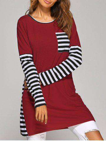Long Sleeve Striped Casual T-Shirt Dress - Wine Red - M
