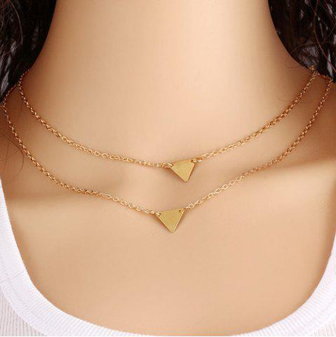 Online Alloy Triangle Layered Pendant Necklace