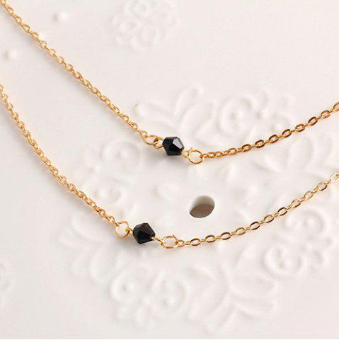 Trendy Geometric Beads Layered Pendant Necklace - GOLDEN  Mobile