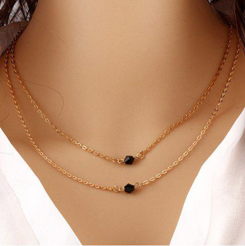 Discount Geometric Beads Layered Pendant Necklace GOLDEN