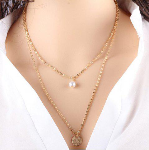 New Faux Pearl Sequin Layered Pendant Necklace