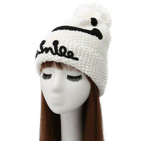 Latest Smile Face Ball Knitted Wool Beanie Hat with Writing WHITE
