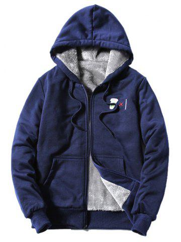 Shop Hooded Coffee Cup Embroidered Zip-Up Fleece Hoodie CADETBLUE 4XL