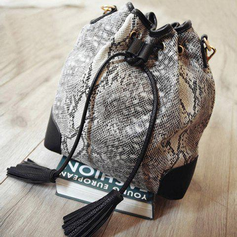 Discount Tassels Snake Print Bucket Shoulder Bag