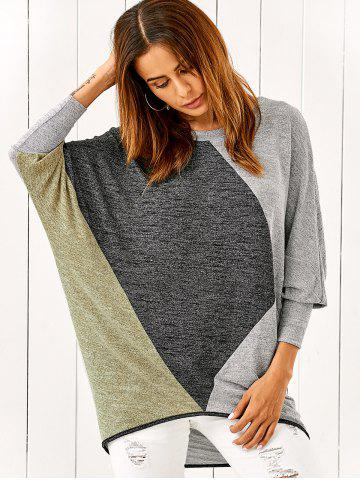 Batwing Sleeve Smock Pullover - Colormix - Xl