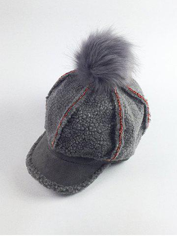 Sale Retro Fleece Pom Ball Embellished Baseball Hat GRAY