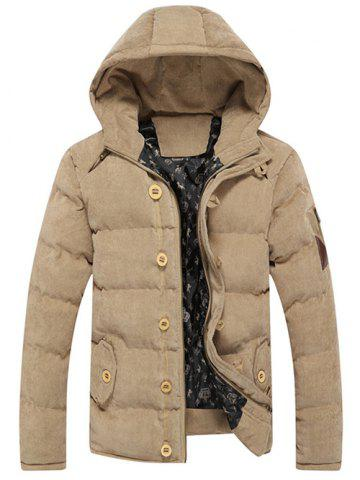 Latest Button Embellished Hooded Suede Padded Coat