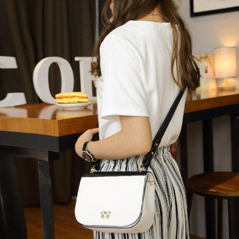Fashion Metal Embellished PU Leather Color Block Crossbody Bag WHITE