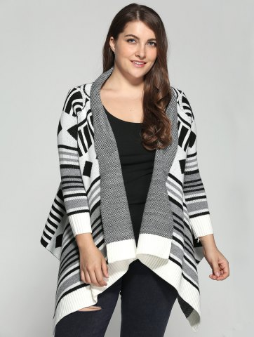 Sale Plus Size Geometric Pattern Irregular Cardigan