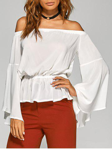 Affordable Off-The-Shoulder Split Sleeve Top WHITE XL