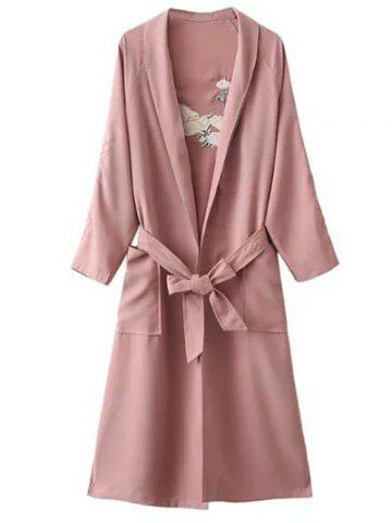 Floral Embroidered Side Slit Belted Maxi Long Duster Coat - Pink - One Size