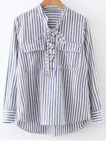 Outfit Stand Neck Striped Lace Up Front Shirt
