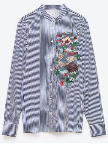 Chic Flower Embroidered Striped Shirt STRIPE L
