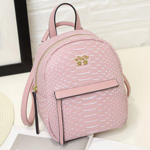 Shop PU Leather Snake Embossed Backpack PINK