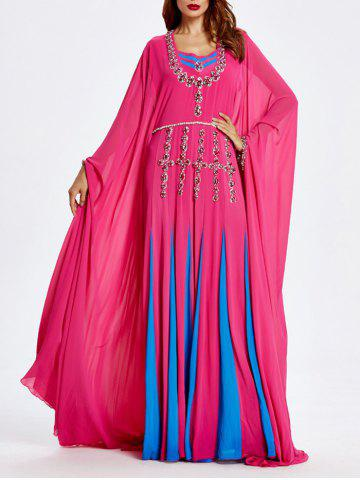Trendy Beaded Bat Sleeve Muslim Loose Maxi Dress