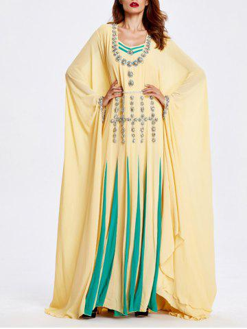 Hot Color Block Beaded Bat Sleeve Loose Maxi Dress