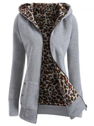 Affordable Zipper Fly Thicken Leopard Pattern Hoodie LIGHT GRAY M