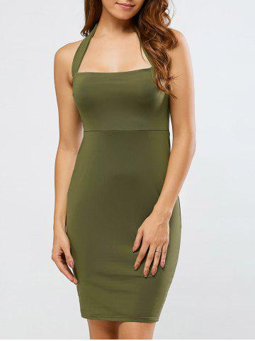 Store Backless Halter Club Sheath Dress ARMY GREEN XL