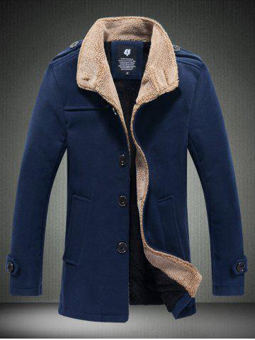 Unique Fleece Plush Lined Single Breasted Stand Collar Woolen Coat