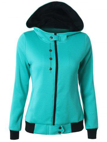 Buy Casual Buttoned Long Sleeve Zipper Up Hoodie LAKE BLUE 2XL