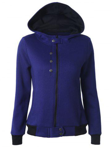 Casual Buttoned Long Sleeve Zipper Up Hoodie - Deep Blue - S