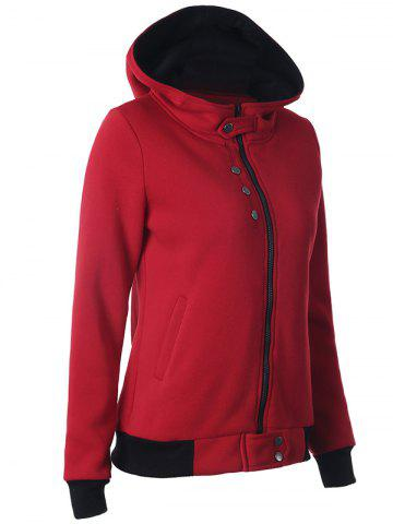 Online Casual Buttoned Long Sleeve Zipper Up Hoodie - 2XL DEEP RED Mobile
