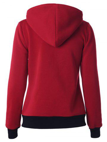 Discount Casual Buttoned Long Sleeve Zipper Up Hoodie - 2XL DEEP RED Mobile