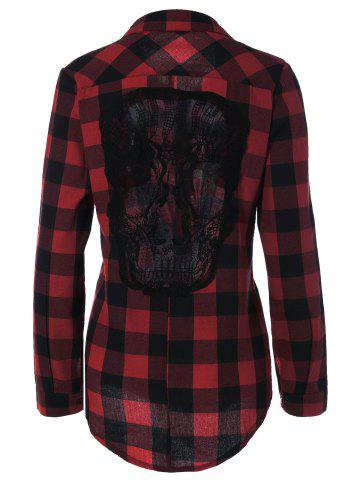 Shop Plaid Back Skull Pattern Flannel Shirt DEEP RED 4XL