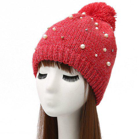 Unique Faux Pearl Beaded Ball Wool Beanie Hat