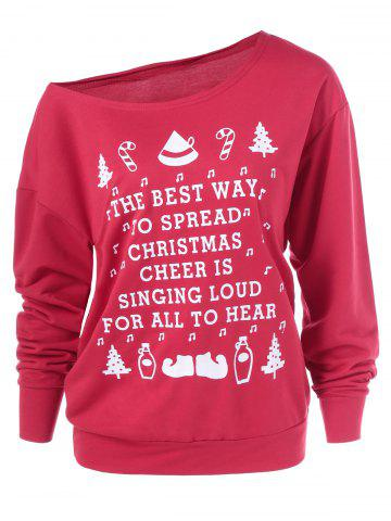 Chic Christmas Graphic Pullover Skew Neck Sweatshirt RED XL
