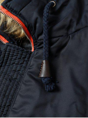 Outfits Faux Fur Hooded Zip Up Multi-Pocket Padded Coat - L BLACK Mobile