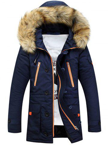 Outfit Faux Fur Hooded Zip Up Multi-Pocket Padded Coat - M BLUE Mobile