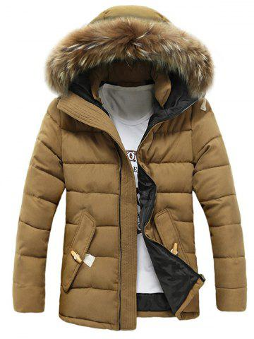 Button Pocket Zip Up Faux Fur Hooded Quilted Coat - KHAKI 2XL
