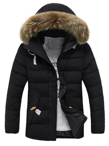 Fashion Button Pocket Zip Up Faux Fur Hooded Quilted Coat - 2XL BLACK Mobile