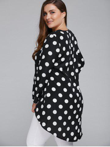 Outfits Plus Size Polka Dot High Low Blouse - 5XL WHITE AND BLACK Mobile