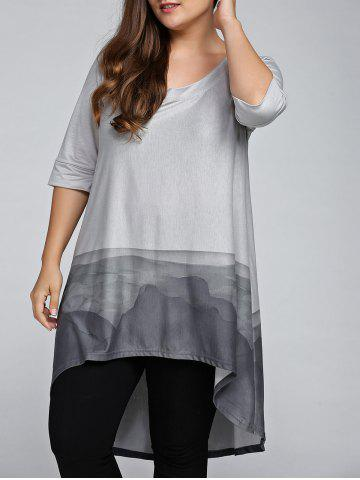 Cheap Plus Size 3/4 Sleeve Printed High Low T-Shirt GRAY 5XL