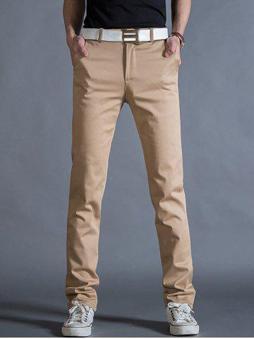 Best Straight Leg Mock Pocket Casual Chino Pants KHAKI 32