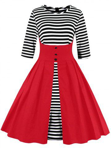 Unique Midi Striped Formal Skater Cocktail Dress RED XL