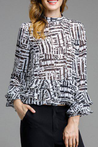 Stand-up Collar Print Ruffle Blouse
