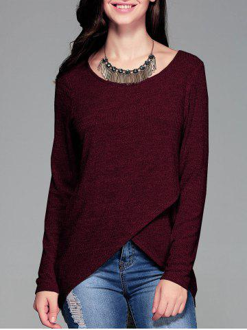 Latest Front Slit Ribbed T-Shirt WINE RED XL