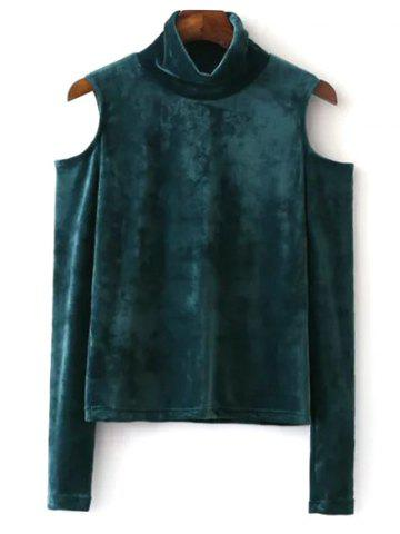 Best High Neck Cold Shoulder Velour Top GREEN L