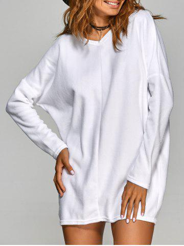 Fancy V Neck Long Sleeve Mini Casual Tunic Dress WHITE M