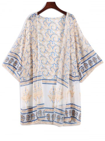 Latest Bat-Wing Sleeve Bohemian Printed Chiffon Cover Up