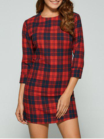 Fashion Casual 3/4 Sleeve Plaid Mini Dress RED XL
